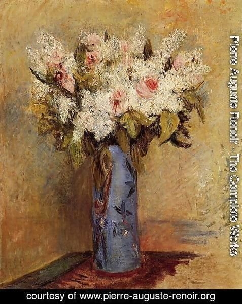Pierre Auguste Renoir - Vase Of Lilacs And Roses