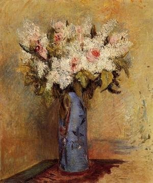 Vase Of Lilacs And Roses