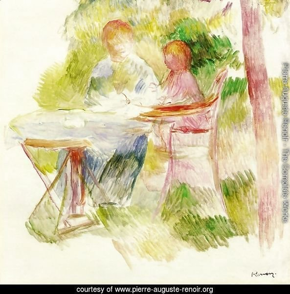 Woman And Child In A Garden (sketch)