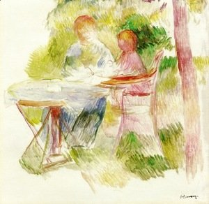 Pierre Auguste Renoir - Woman And Child In A Garden (sketch)