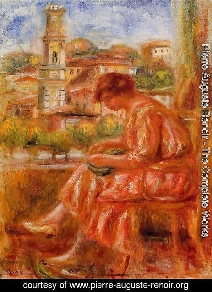 Pierre Auguste Renoir - Woman At The Window With A View Of Nice