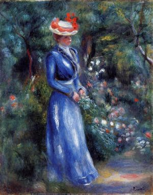 Pierre Auguste Renoir - Woman In A Blue Dress  Standing In The Garden Of Saint Cloud