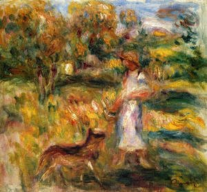 Pierre Auguste Renoir - Woman In Blue And Zaza In A Landscape