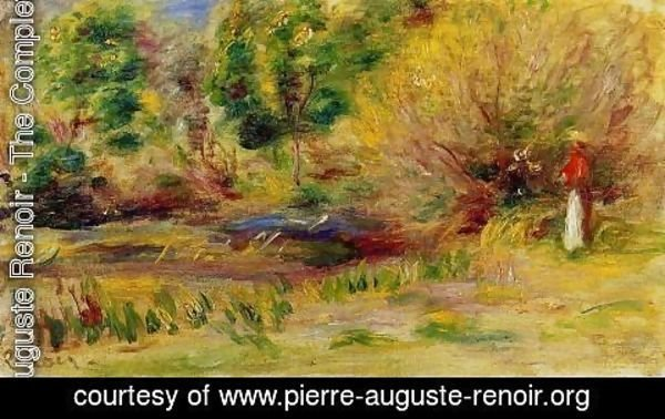 Pierre Auguste Renoir - Woman Wearing A Hat In A Landscape