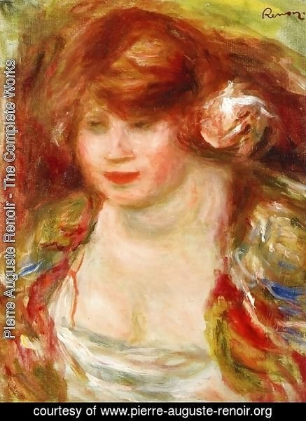 Pierre Auguste Renoir - Woman Wearing A Rose   Andree