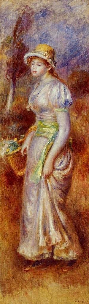 Pierre Auguste Renoir - Woman With A Basket Of Flowers