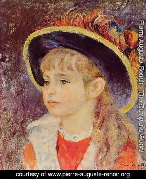 Pierre Auguste Renoir - Young Girl In A Blue Hat