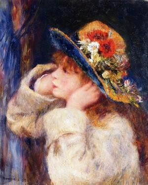 Pierre Auguste Renoir - Young Girl In A Hat Decorated With Wildflowers