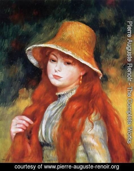 girl Renoir with hat painting