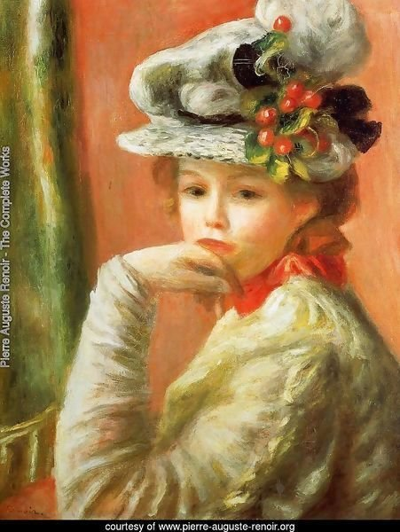Young Girl In A White Hat Aka Woman Leaning On Her Hand