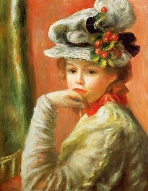 Pierre Auguste Renoir - Young Girl In A White Hat Aka Woman Leaning On Her Hand
