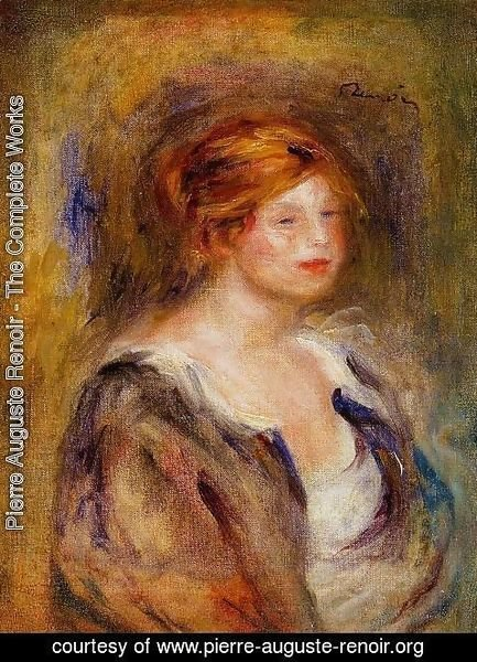 Pierre Auguste Renoir - Young Girl In Blue Aka Head Of A Blond Woman