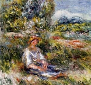 Pierre Auguste Renoir - Young Girl Seated In A Meadow