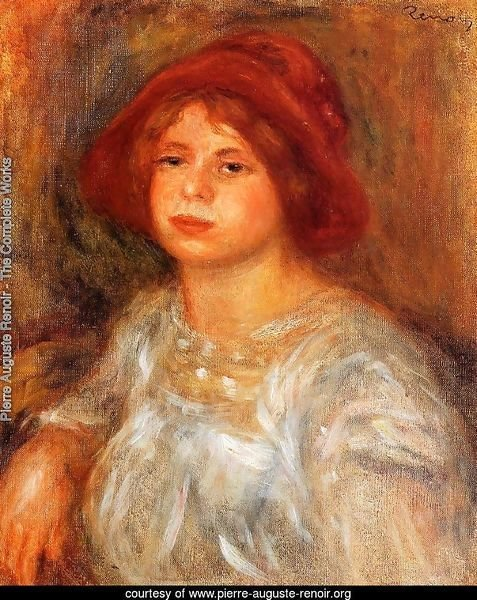 Young Girl Wearing A Red Hat
