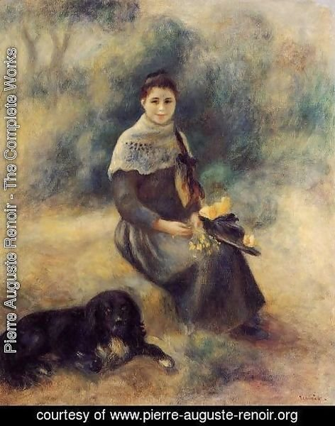 Pierre Auguste Renoir - Young Girl With A Dog