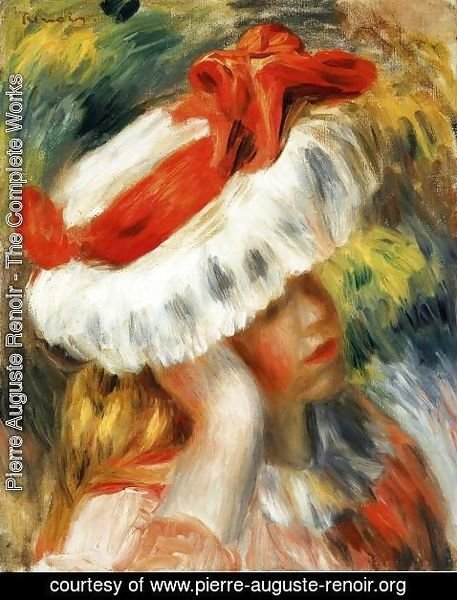 painting with hat girl Renoir