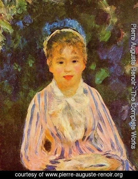 Pierre Auguste Renoir - Young Woman In A Blue And Pink Striped Shirt