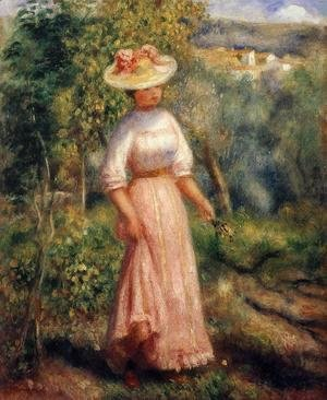Pierre Auguste Renoir - Young Woman In Red In The Fields