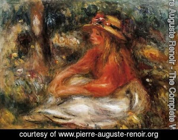 Pierre Auguste Renoir - Young Woman Seated On The Grass