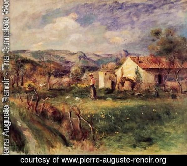 Pierre Auguste Renoir - Young Woman Standing Near A Farmhouse In Milly