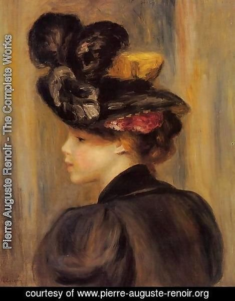 Pierre Auguste Renoir - Young Woman Wearing A Black Hat