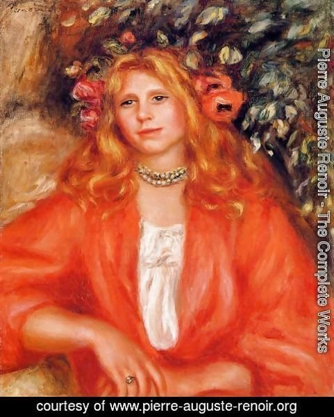 Pierre Auguste Renoir - Young Woman Wearing A Garland Of Flowers