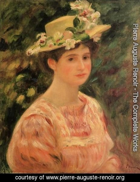 Pierre Auguste Renoir - Young Woman Wearing A Hat With Wild Roses